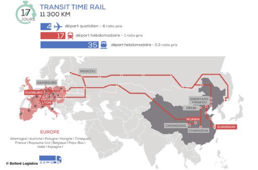 La route ferroviaire empruntée par les trains entre la Chine et l'Europe.