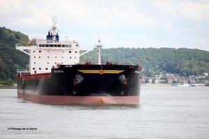 Navire vraquier de 240 m de long venu charger 59000t d'orges à destination de la Chine.